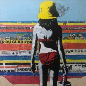 Lise Vestergaard, girl by the sea, trash art, Galleri kbh kunst
